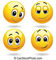 Smileys - Self-satisfied smiley balls posing