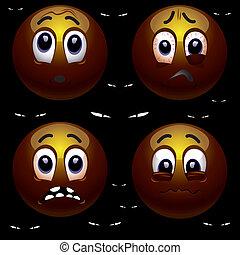 Smiling balls are afraid of the dark