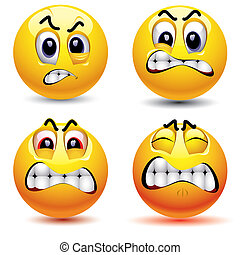 Smileys - Smiling balls with different face expression of...