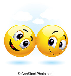 Smileys - two smiling balls having fun and enjoying each...