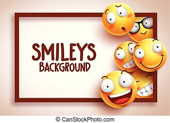 Smileys vector background template with funny yellow emoticons