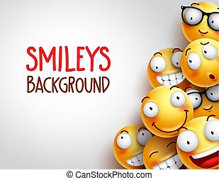 Smileys vector background with yellow funny or happy emoticons