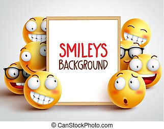 Smileys vector background. Yellow emoticons with funny