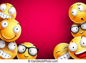 Smileys vector background. Yellow smileys or emoticons