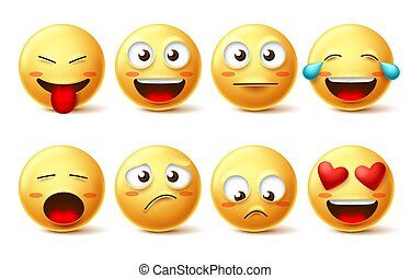 Smileys vector icon set. Emoticons and funny smiley face with happy, sad, inlove and naughty