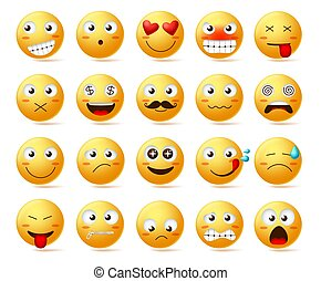 Smileys vector icon set. Smiley face or yellow emoticons with facial expressions