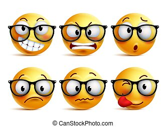 Smileys vector set of yellow nerd emoticons with eyeglasses