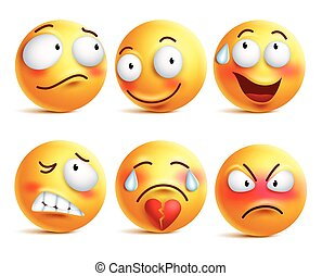 Smileys vector set. Smiley face or yellow emoticons with facial expressions