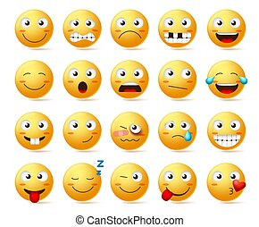 Smileys vector set. Smiley face or yellow emoticons with various facial expressions and emotions