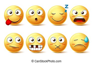 Smileys vector set with funny facial expressions. Smiley face cute emoticons