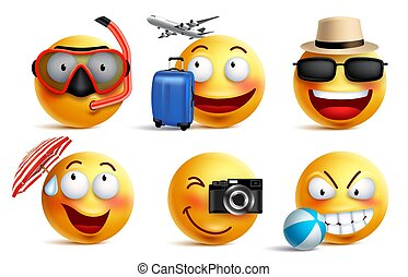 Smileys vector set with summer and travel outfits