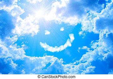 smilie, de, nuvem, e, sol brilhante, em, céu azul