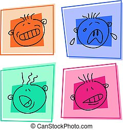 smilie icons - expressive kids faces