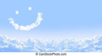 smilie, van, wolk, in, blauwe hemel