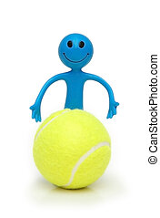 Smilie with tennis ball isolated on white