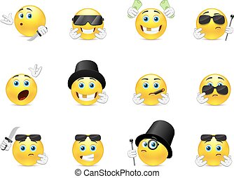 Smilies bandits - Set of scary and evil bandits emoticons...