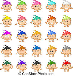 Smilies girls, set - Set of smilies girls with colored hair...