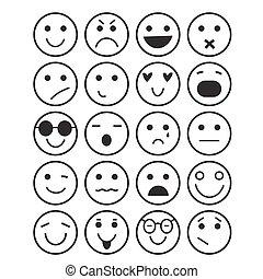 Smilies icons: different emotions - black contour smilies...