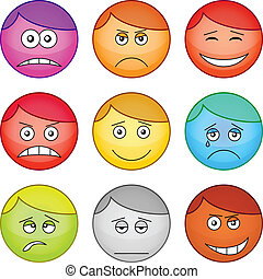 Set of the vector round smilies symbolising various human emotions