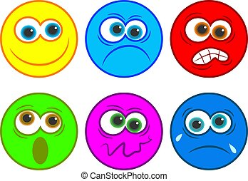 Smilie icons, happy, sad, angry, shocked emotions.