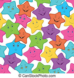 Smilies stars, seamles - Seamless background: colored stars...