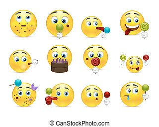 Smilies sweet tooth - Cute emoticons with different sweet...