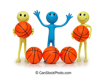 Smilies with basketballs isolated on white