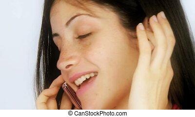 smilin, téléphone, dame, séduisant