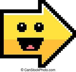 Smiling 8-Bit Cartoon Arrow - An illustration of an arrow ...