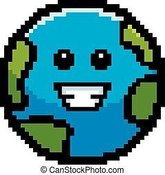 Smiling 8-Bit Cartoon Earth