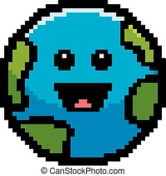 Smiling 8-Bit Cartoon Earth