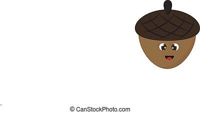 Smiling acorn, illustration, vector on white background.