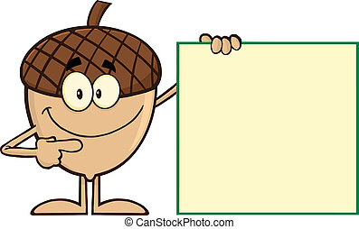 Smiling Acorn Showing A Blank Sign - Smiling Acorn Cartoon ...