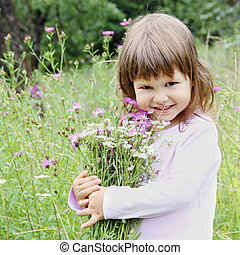 Adorable Girl with Bunch of Flowers