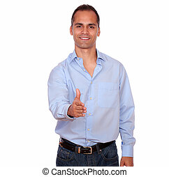Smiling adult man extending handshake at you - Portrait of a...