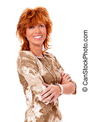 smiling adult woman with red hair isolated