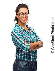 smiling african american girl in eyeglasses