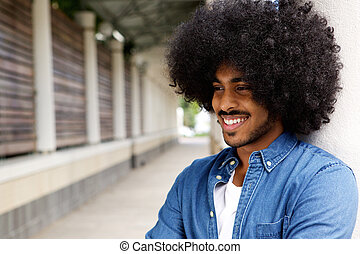Smiling african american man with afro