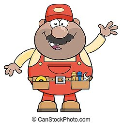 Smiling African American Mechanic Cartoon Character Waving For Greeting