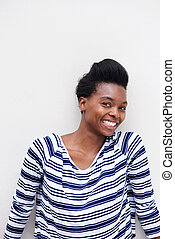 smiling african american woman against white background