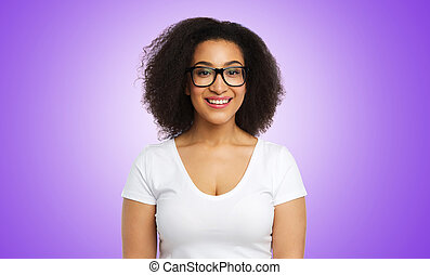 smiling african american woman in glasses