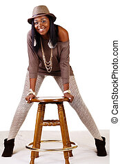 Smiling African American Woman In Hat Stockings