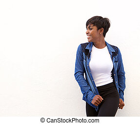 Smiling african american woman looking away