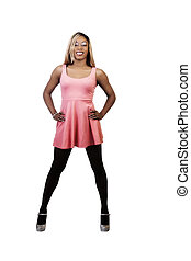 Smiling African American Woman Standing In Orange Dress