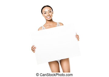 smiling african american woman with banner