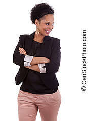 Smiling african american woman with folded arms