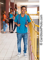 smiling african college boy