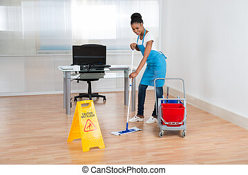 Woman Cleaning Hardwood Floor - Smiling African Woman...