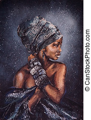 Smiling african woman with bright look in national clothes against the background of the starry sky, the original painting