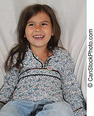 Smiling Alaska Native Girl - A 5-year-old Alaska Native girl...